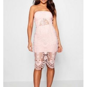 Pink crochet lace midi dress